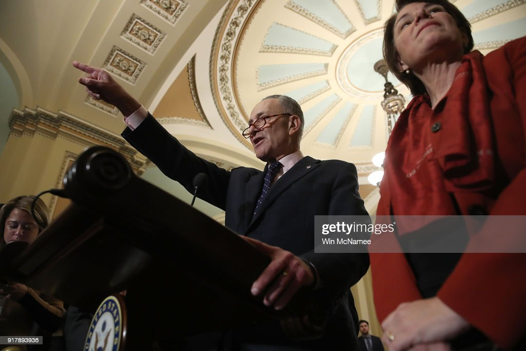 Senate Minority Leader Chuck Schumer (D-NY) answers questions following the weekly policy luncheons at the U.S. Capitol on February 13, 2018 in Washington, DC. Schumer answered a range of questions focused primarily on the immigration reform efforts in the U.S. Senate.