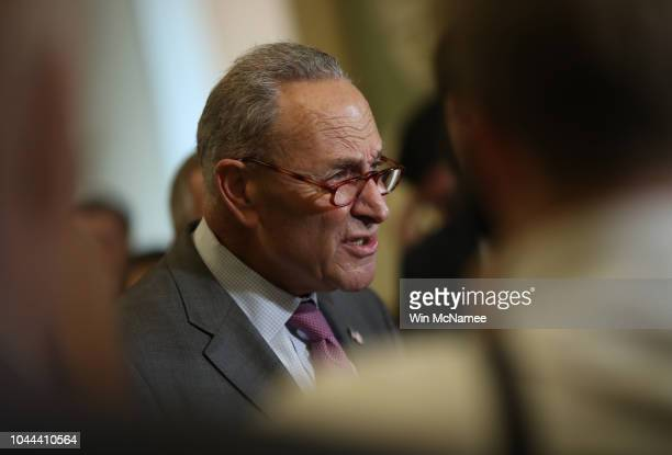 Senate Minority Leader Chuck Schumer answers questions from the press following the weekly Democratic policy luncheon on September 25 2018 in...