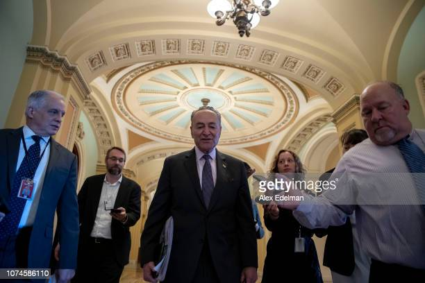Senate Minority Leader Chuck Schumer arrives at the US Capitol on December 22 2018 in Washington DC Democrats refused to agree with President Donald...