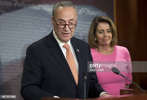 US Senate Minority Leader Chuck Schumer Democrat of New York and House Democratic Leader Nancy Pelosi Democrat of California speak about US President...