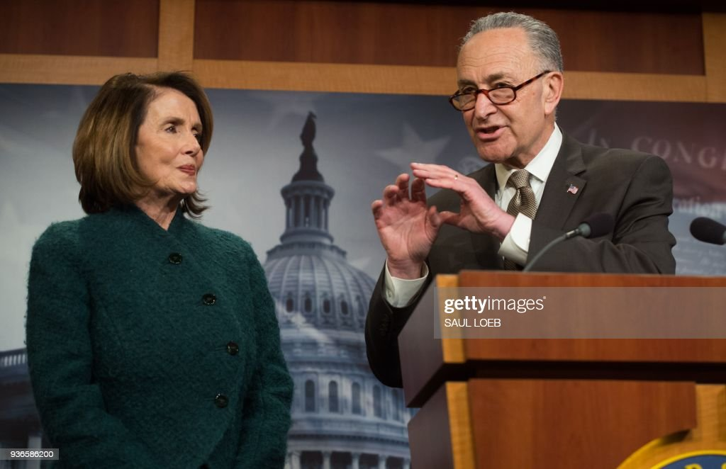 Nancy Pelosi And Chuck Schumer Hold Press Conference On Omnibus Spending Bill