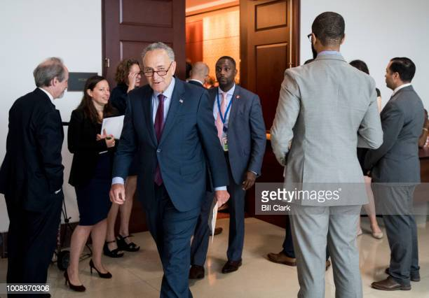 Senate Minority Leader Chuck Schumer DNY leaves after speaking at the Senate Democrats' 3D downloadable guns news conference in the Capitol on...