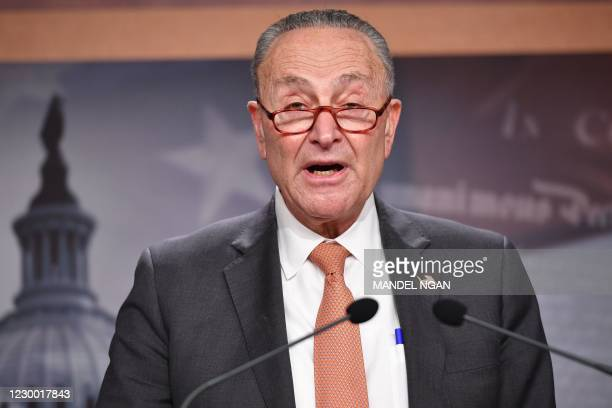 Senate Minority Leader Chuck Schumer, D-NY, speaks during a press conference at the US Capitol in Washington, DC on December 08, 2020. - The US...