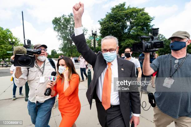 Senate Minority Leader Chuck Schumer DNY visits DACA protesters outside of the US Supreme Court on Thursday June 18 after the court rejected the...