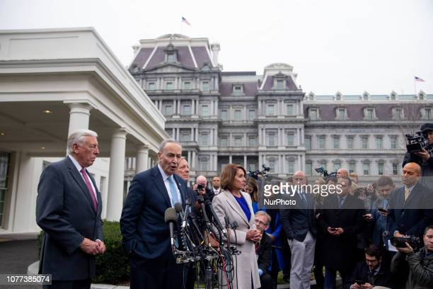 Senate Minority Leader Chuck Schumer flanked by the other Democratic leaders in Congress addresses the media after meeting with Republicans and...