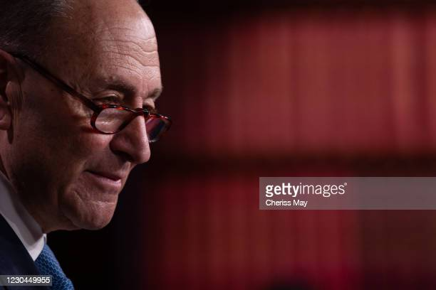 Senate Minority Leader Chuck Schumer holds a press conference at the U.S. Capitol on January 6, 2021 in Washington, DC. Congress will hold a joint...