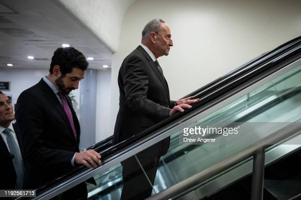 Senate Minority Leader Chuck Schumer leaves a briefing with administration officials about the situation with Iran at the US Capitol on January 8...