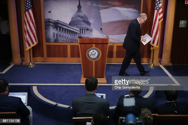 Senate Minority Leader Chuck Schumer leaves the podium after a news conference at the US Capitol following the firing of Federal Bureau of...
