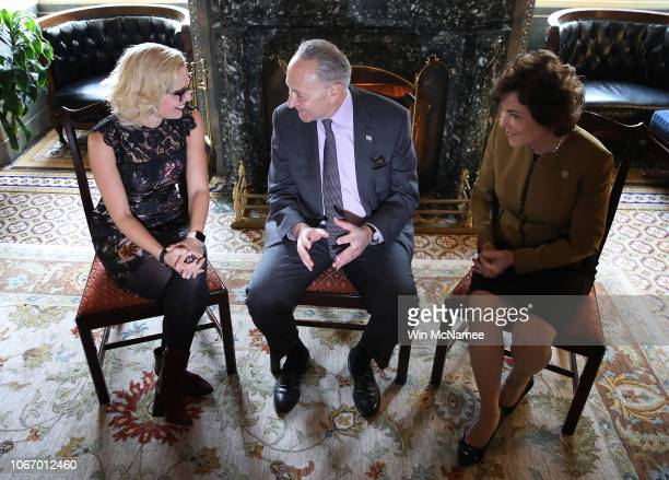 Senate Minority Leader Chuck Schumer meets with newlyelected Democratic senatorselect Kyrsten Sinema and Jacky Rosen in his office at the US Capitol...