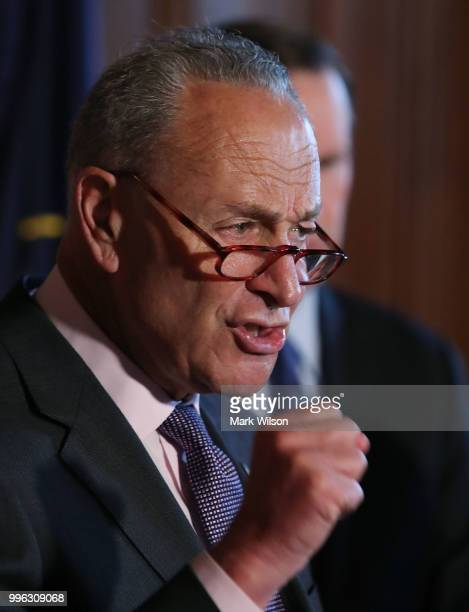 Senate Minority Leader Chuck Schumer speaks about healthcare during a news conference on Capitol Hill on July 11 2018 in Washington DC Schumer urged...
