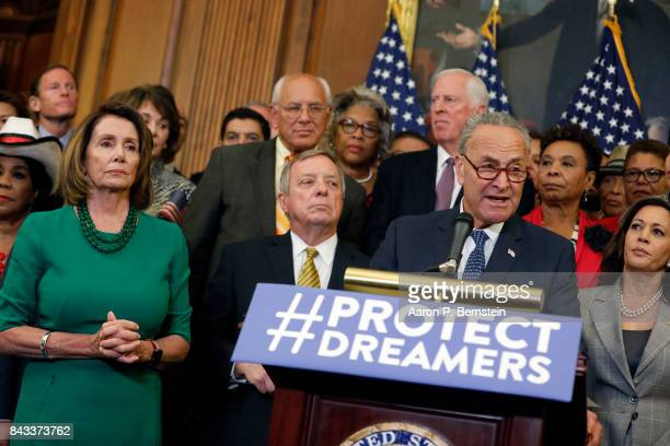 Senate Minority Leader Chuck Schumer speaks at a news conference as other congressional leaders look on about President Donald Trump's decision to...
