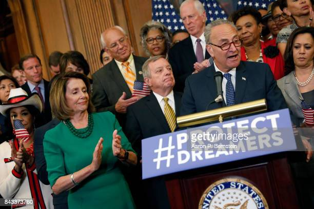 Senate Minority Leader Chuck Schumer speaks at a news conference about President Donald Trump's decision to end the Deferred Action for Childhood...