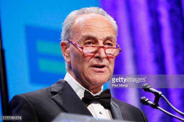 Senate Minority Leader Chuck Schumer speaks at the 23rd Annual Human Rights Campaign National Dinner at the Washington Convention Center on September...