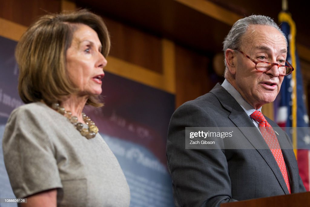 House Speaker Nancy Pelosi And Sen. Schumer Speak To Media After President Trump Announces Deal To End To Government Shutdown : News Photo