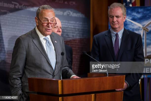 Senate Minority Leader Chuck Schumer speaks during a news conference discussing the EPA's new affordable clean energy rule on June 19, 2019 in...