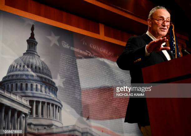 US Senate Minority leader Chuck Schumer speaks during a press conference after Democrats lost more seats in the Senate in Washington DC on November 7...
