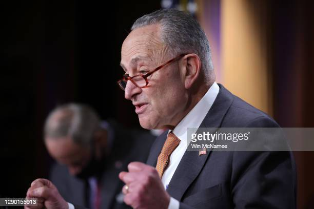 Senate Minority Leader Chuck Schumer speaks during a press conference at the U.S. Capitol with Sen. Tom Carper December 08, 2020 in Washington, DC....