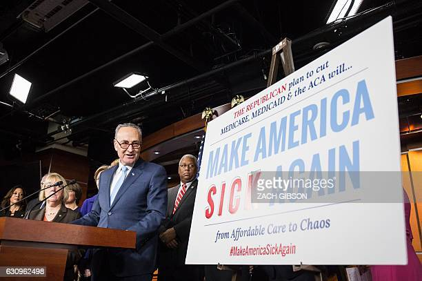 US Senate Minority Leader Chuck Schumer speaks during a press conference discussing Republican attempts to dismantle Medicare Medicaid and The...