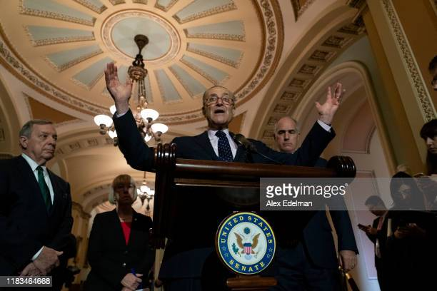 Senate Minority Leader Chuck Schumer speaks during his weekly press conference at the US Capitol on November 19 2019 in Washington DC Democrats spoke...