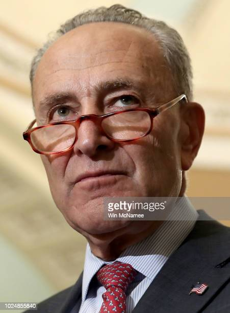 Senate Minority Leader Chuck Schumer speaks following the weekly Democratic policy luncheon at the US Capitol on August 28 2018 in Washington DC...