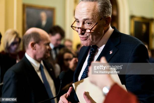 WASHINGTON DC Senate Minority Leader Chuck Schumer surrounded by fellow Senators speaks to journalists about the DACA debate in the Senate and Senate...