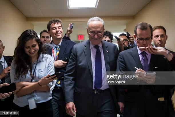 Senate Minority Leader Chuck Schumer talks to reporters as he heads to a vote on amendments to the fiscal year 2018 budget resolution on Capitol Hill...