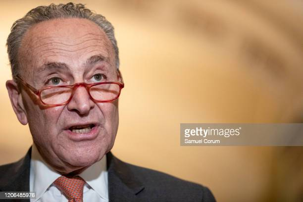 Senate Minority Leader Chuck Schumer talks to reporters following the Senate Democrats weekly policy luncheon on Capitol Hill on March 10 2020 in...