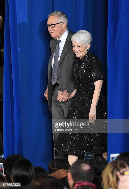 S Senate Minority Leader Harry Reid and his wife Landra Reid arrive at a campaign rally with US President Barack Obama for Democratic presidential...