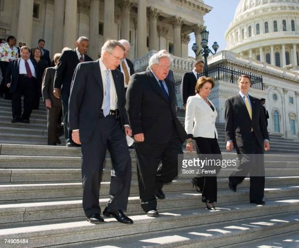 Senate Minority Leader Harry Reid DNev House Speaker J Dennis Hastert RIll House Minority Leader Nancy Pelosi DCalif and Senate Majority Leader Bill...