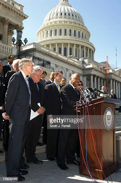 Senate Minority Leader Harry Reid DNev House Speaker J Dennis Hastert RIll and Senate Majority Leader Bill Frist RTenn House Minority Leader Nancy...