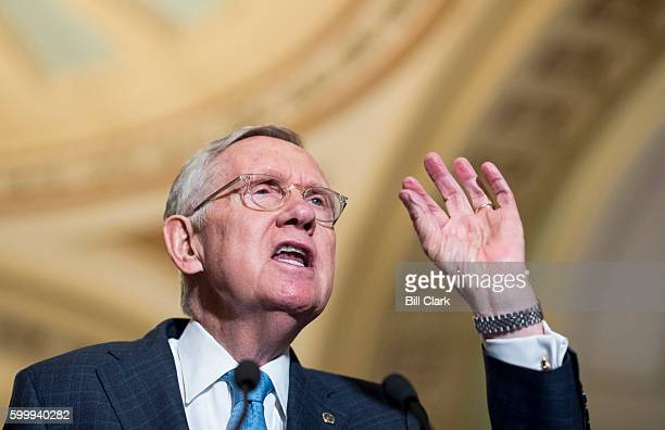 Senate Minority Leader Harry Reid DNev speaks to the media in the Ohio Clock Corridor following the Senate Democrats' weekly policy lunch in the...