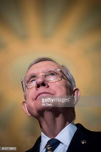 Senate Minority Leader Harry Reid DNev speaks to the press about the continuing resolution in the Ohio Clock Corridor following the Senate Democrats'...