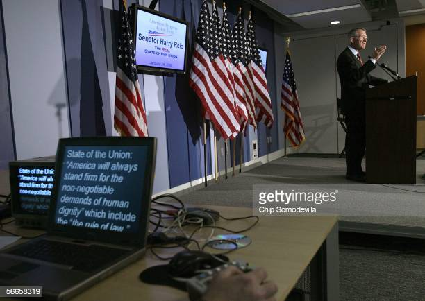 S Senate Minority Leader Harry Reid gestures as he speaks about what he thinks US President George W Bush should speak about in his upcoming State of...