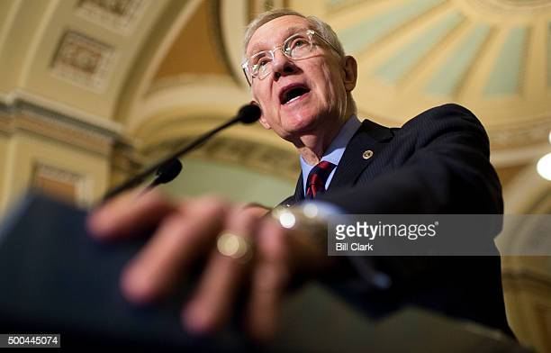 Senate Minority Leader Harry Reid holds his news conference with Senate Democratic leadership following the Democrats' lunch in the Capitol on...