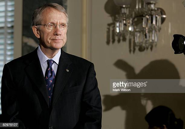 S Senate Minority Leader Harry Reid listens to questions during a news conference on Capitol Hill May 24 2005 in Washington DC The news conference...