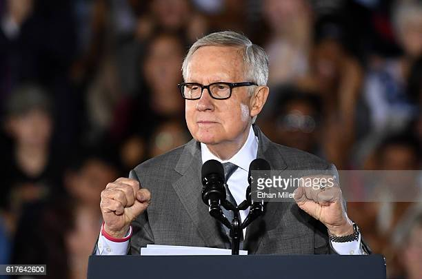 S Senate Minority Leader Harry Reid speaks at a campaign rally with US President Barack Obama for Democratic presidential nominee Hillary Clinton at...