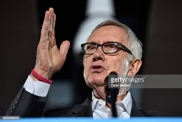 S Senate Minority Leader Harry Reid speaks before introducing Democratic presidential nominee and former Secretary of State Hillary Clinton at the...