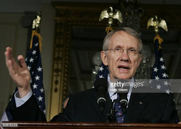 S Senate Minority Leader Harry Reid speaks during a news conference on Capitol Hill May 24 2005 in Washington DC The news conference focused on...