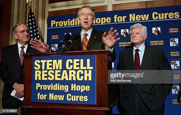 Senate Minority Leader Harry Reid speaks during a press conference urging Senate Majority Leader Bill Frist to immediately take up the Stem Cell...