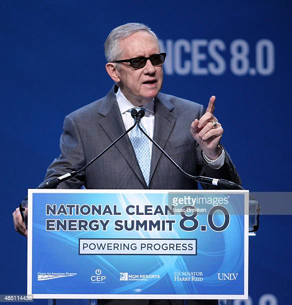 S Senate Minority Leader Harry Reid speaks during the National Clean Energy Summit 80 at the Mandalay Bay Convention Center on August 24 2015 in Las...