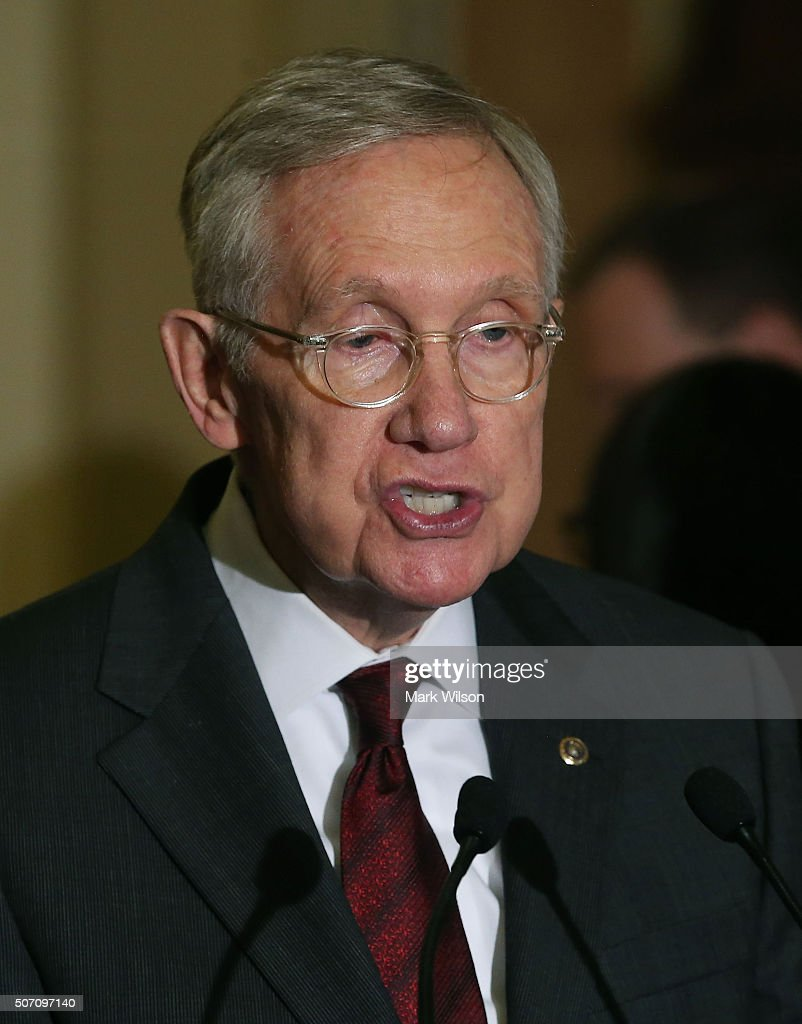 Senate Minority Leader Harry Reid (D-NV) speks to the media after the weekly Senate Policy Luncheon on Capitol Hill January 27, 2016 in Washington, DC. Reid discussed the comprehensive energy legislation that is before the Senate.