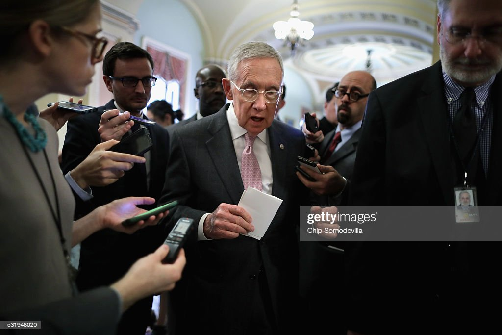 Senate Minority Leader Harry Reid (D-NV) talks with reporters following the weekly Senate Democratic policy luncheon at the U.S. Capitol May 17, 2016 in Washington, DC. Reid said he holds supporters of presidential candidate Sen. Bernie Sanders (D-VT) responsible for the chaos that occured during last weekend's Nevada Democratic Convention.
