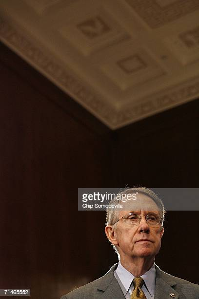 Senate Minority Leader Harry Reid waits to speak during a news conference in the run up to a series of Senate votes on stem cell research on Capitol...