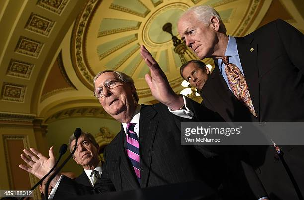 Senate Minority Leader Mitch McConnell answers questions with members of the Republican senate leadership following the weekly Republican policy...