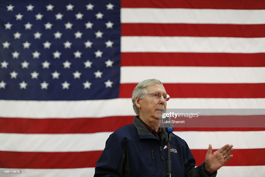 Senate Minority Leader Mitch McConnell (R-KY) delivers a stump speech during a campaign stop at Brandeis Machinery & Supply Company on October 31, 2014 in Louisville, Kentucky. With less than a week remaining until election day McConnell maintains a slight edge over Democratic challenger Kentucky Secretary of State Alison Lundergan Grimes in recent polls.