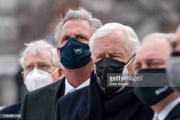 Senate Minority Leader Mitch McConnell , House Minority Leader Kevin McCarthy , House Majority Leader Steny Hoyer and Rep. Steve Scalise watch the...