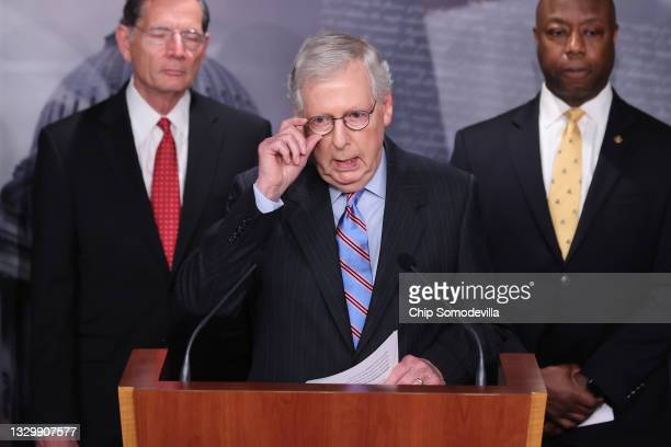 Senate Minority Leader Mitch McConnell joins Sen. John Barrasso , Sen. Tim Scott and other Senate Republicans during a news conference at the U.S....