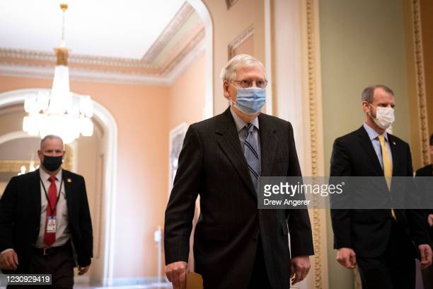 Senate Minority Leader Mitch McConnell leaves his office and walks to the Senate floor at the U.S. Capitol on February 2, 2021 in Washington, DC....