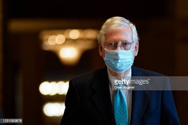 Senate Minority Leader Mitch McConnell leaves his office and walks to the Senate floor at the U.S. Capitol on February 8, 2021 in Washington, DC....