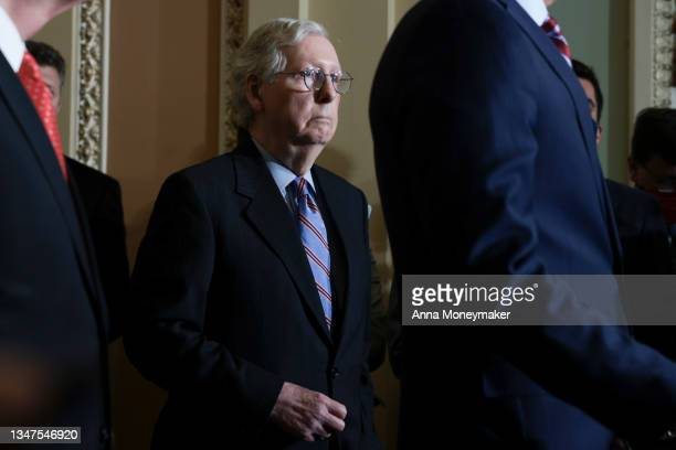 Senate Minority Leader Mitch McConnell listens during a press conference following a weekly Republican policy luncheon at the U.S. Capitol on October...